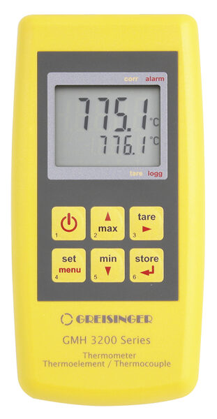 Greisinger GMH 3251 K,J,T,N,S,E,B-tipa termopāra termometrs ar 2 sensoru pieslēgvietām un datu logeri
